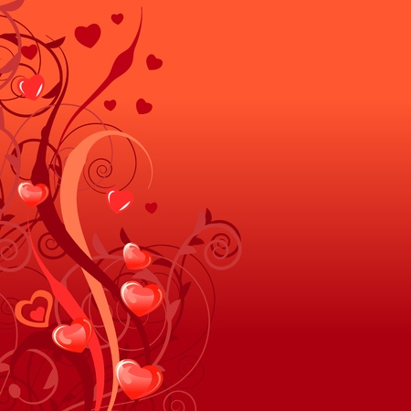 Background with stylixed plants and hearts Vector