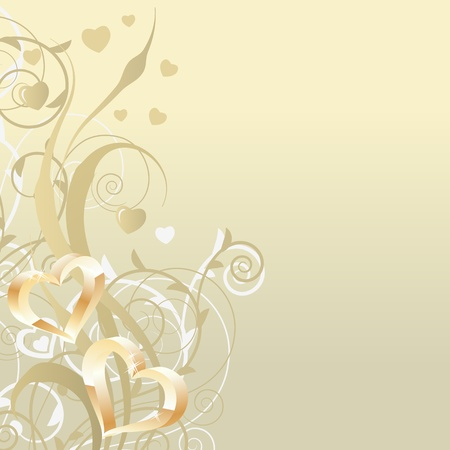 wedding backdrop: Background with stylixed plants and hearts Illustration