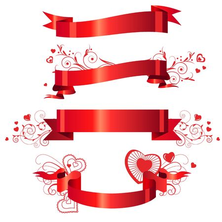 tape line: Four floral red banners  Illustration