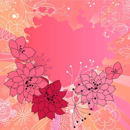 Pink heart-shape frame  Vector