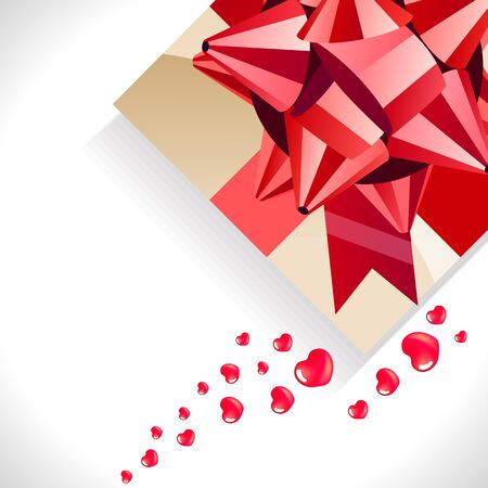 Gift box with big red bow  Vector