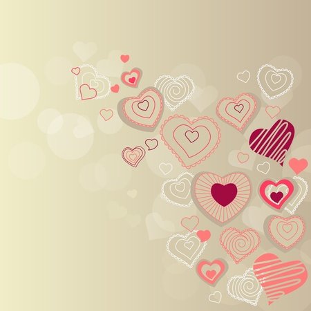 Contour hearts on pastel background Stock Vector - 8584450