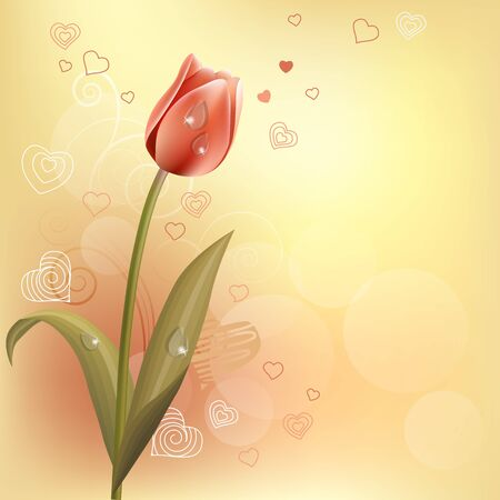 l natural: Pastel background with tulip