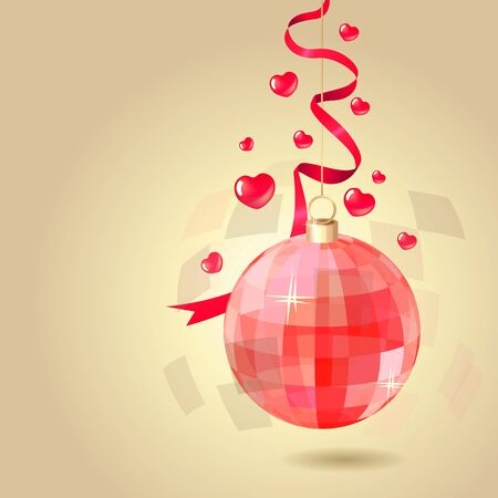 Red hanging mirror ball Vector