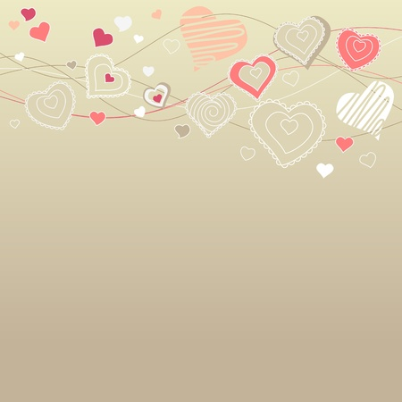 Hearts on pastel background Vector