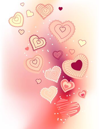 Contour hearts on pink background Stock Vector - 8584460