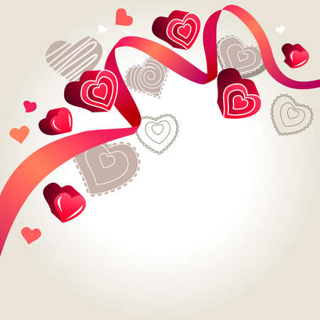 Contour hearts on light background Stock Photo - 8584462