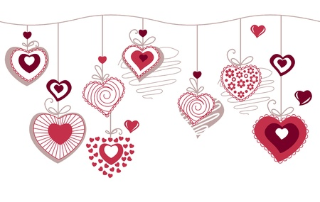 Seamless horizonatal pattern with contour hearts Vector