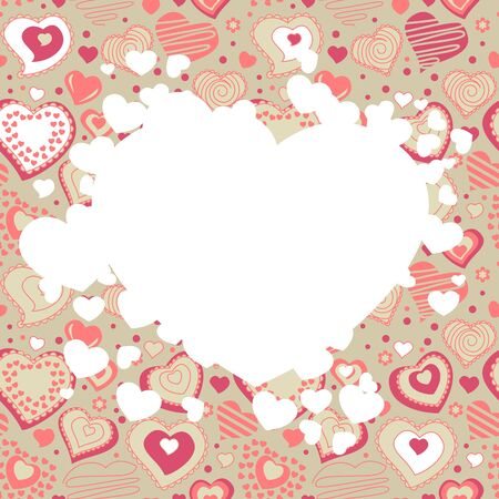 Frame with many hearts Vector