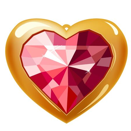 Ruby gold heart Stock Vector - 8614542