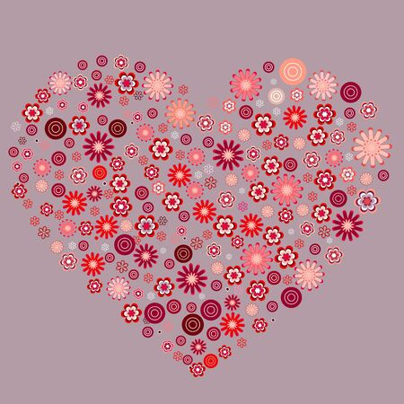 Big heart made of small flowers Vector