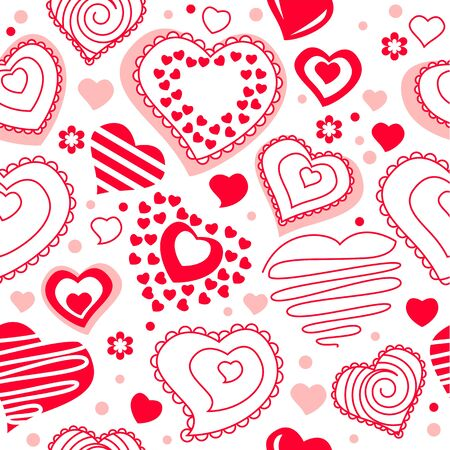 Seamless pattern with red contour hearts Stock Vector - 8614538