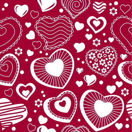 Seamless pattern with  contour hearts Vector