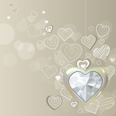 silver jewellery: Diamond silver heart on light background Illustration