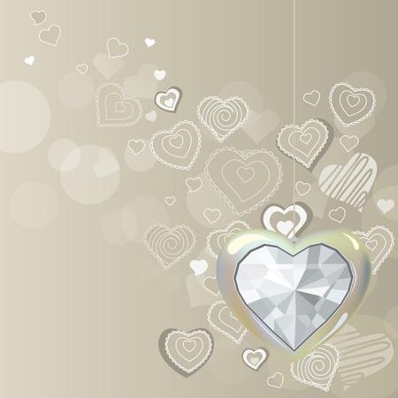 silver jewelry: Diamond silver heart on light background Illustration
