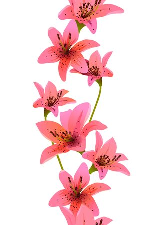 Vertical seamless pattern with lilies Vector