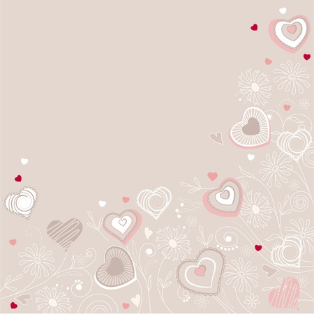Contour hearts on pastel background Vector