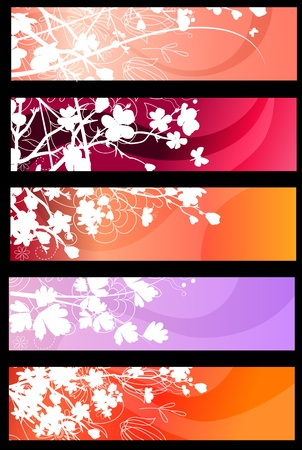 Floral spring red banners Vector