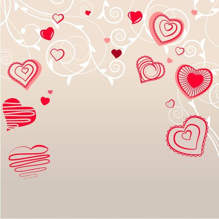 Contour red hearts on pastel background Vector