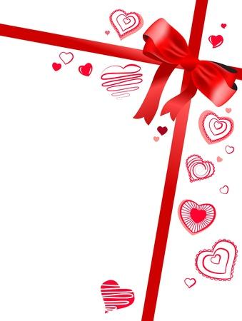 Lazo rojo con corazones