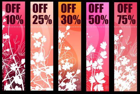 Banners de primavera de floral rojo Vectores