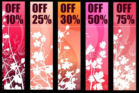 discount banner: Floral spring red banners Illustration