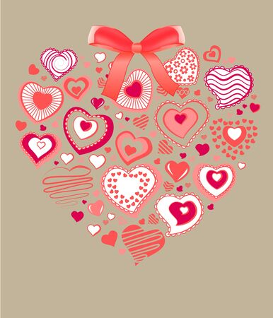 Big heart made of small ones Vector