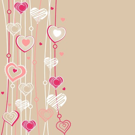 Contour hearts hanging on pastel background Vector