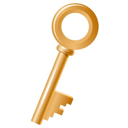 house keys: Golden key isolated Illustration