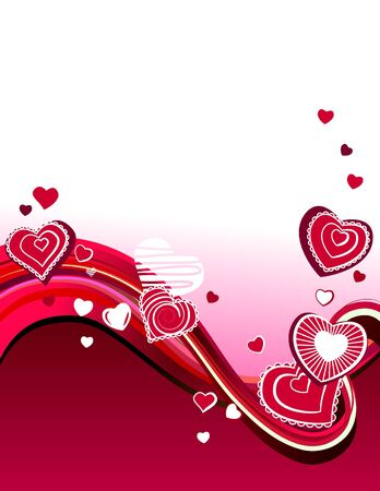 Red hearts on abstract background Vector