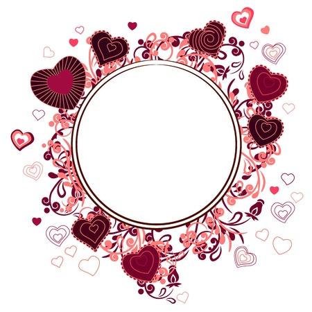 circle frame: Blank frame with small hearts