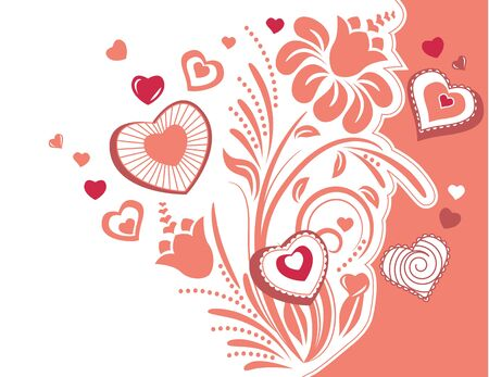 Stylized plant with hearts Vector