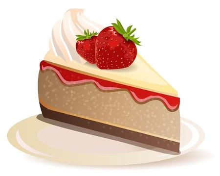 rebanada de pastel: Tarta de fresa