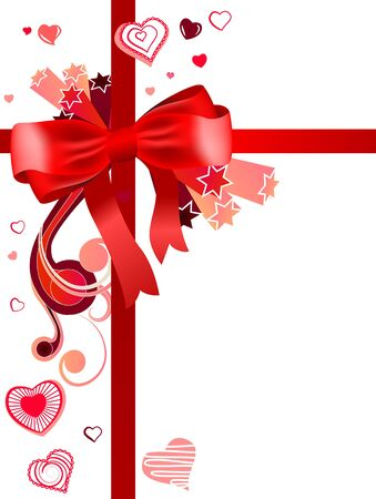 Red bow with hearts Vector