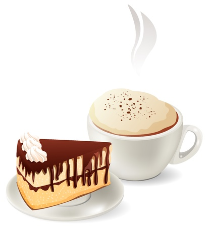 rebanada de pastel: Taza de caf� caliente con pastel