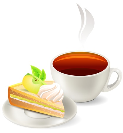 apple slice: Cup of hot tea with cake Illustration