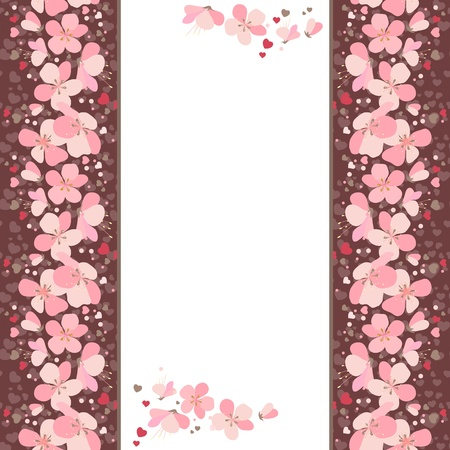 cherry varieties: Frame with pink cherry flowers