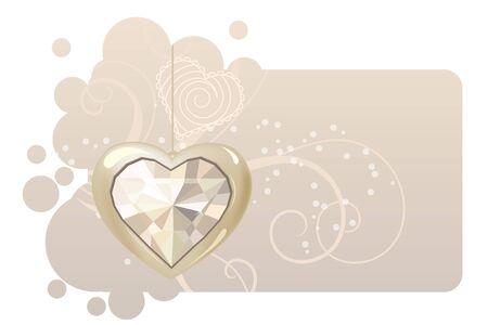 Heart on pastel frame Vector