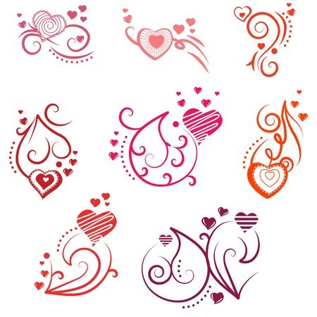 saint valentine s day: Ornate design elements with hearts
