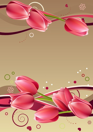 red tulip: Frame with hearts and tulips
