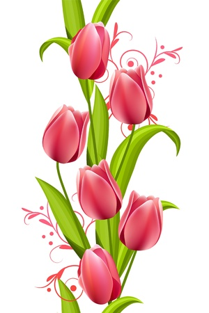 tulips: Vertical seamless pattern with tulips