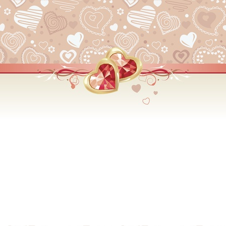 wedding backdrop: Greeting card with gems and hearts Illustration