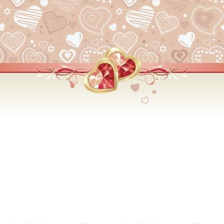 Tarjeta de felicitaci�n con gemas y corazones