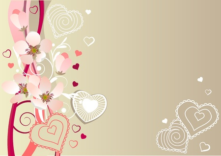 Frame with hearts and blossoming branches Stock Vector - 8659201