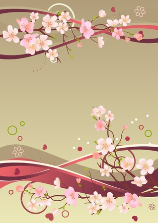 Frame with hearts and blossoming branches Vector