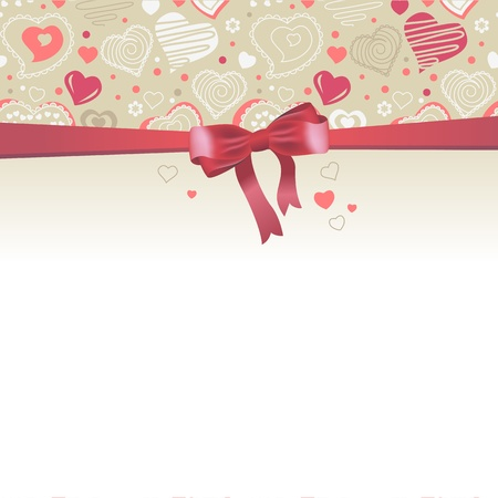 feb: Greeting card with red bow and hearts