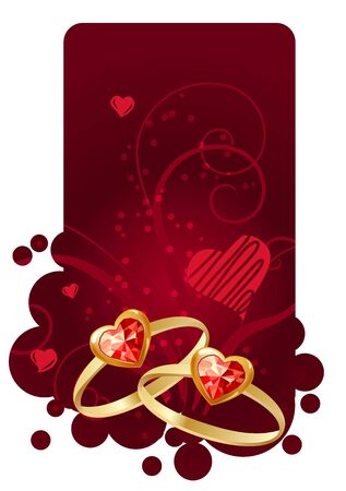 Two rings on red frame Vector