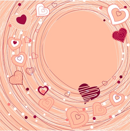 Contour red hearts on pastel background Stock Vector - 8659198