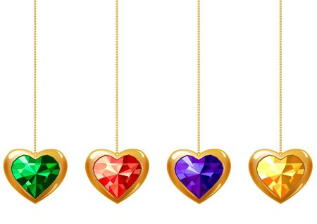 Four hearts with gems Vector