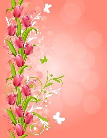 Roze achtergrond met tulpen